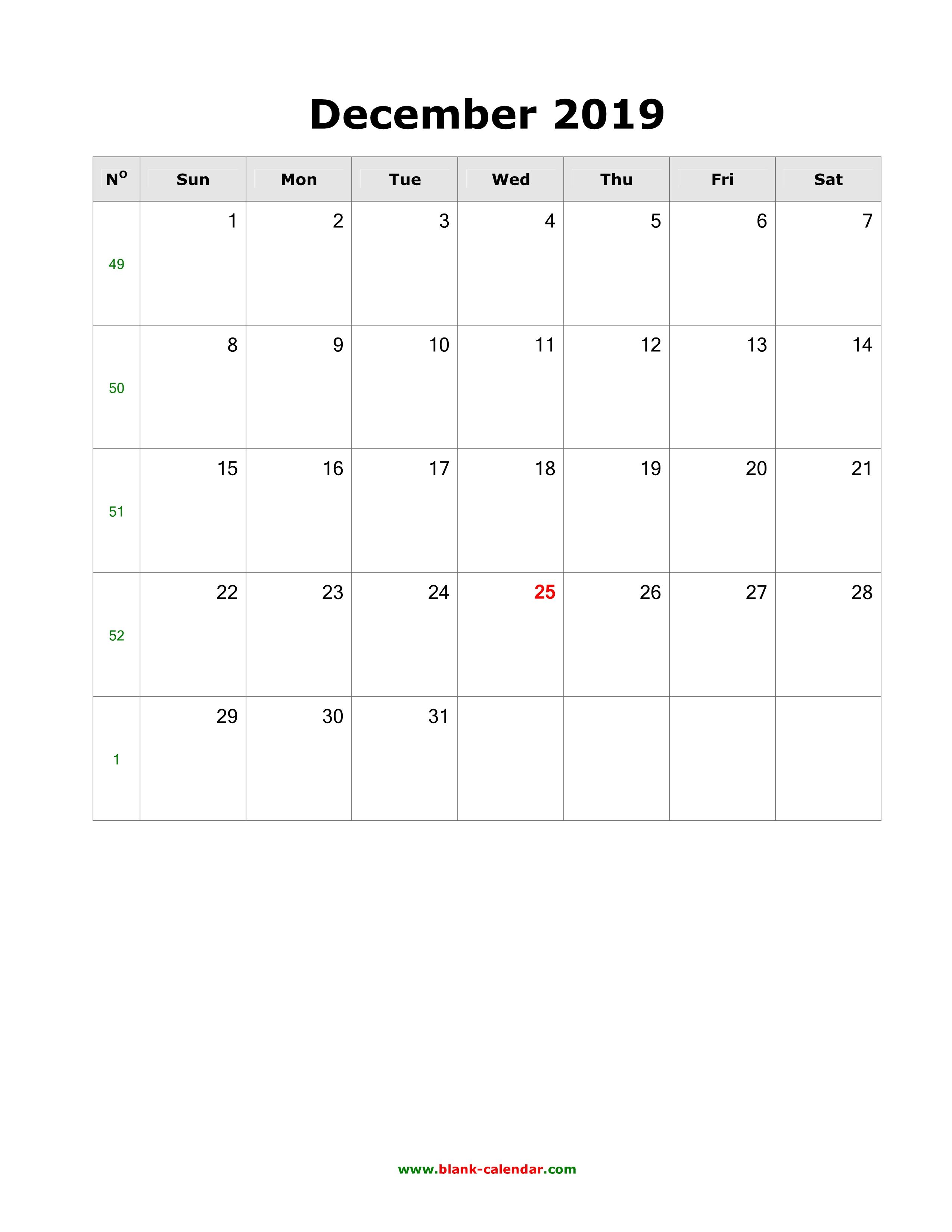 Vertical December 2019 Calendar Download December 2019 Blank Calendar (vertical)