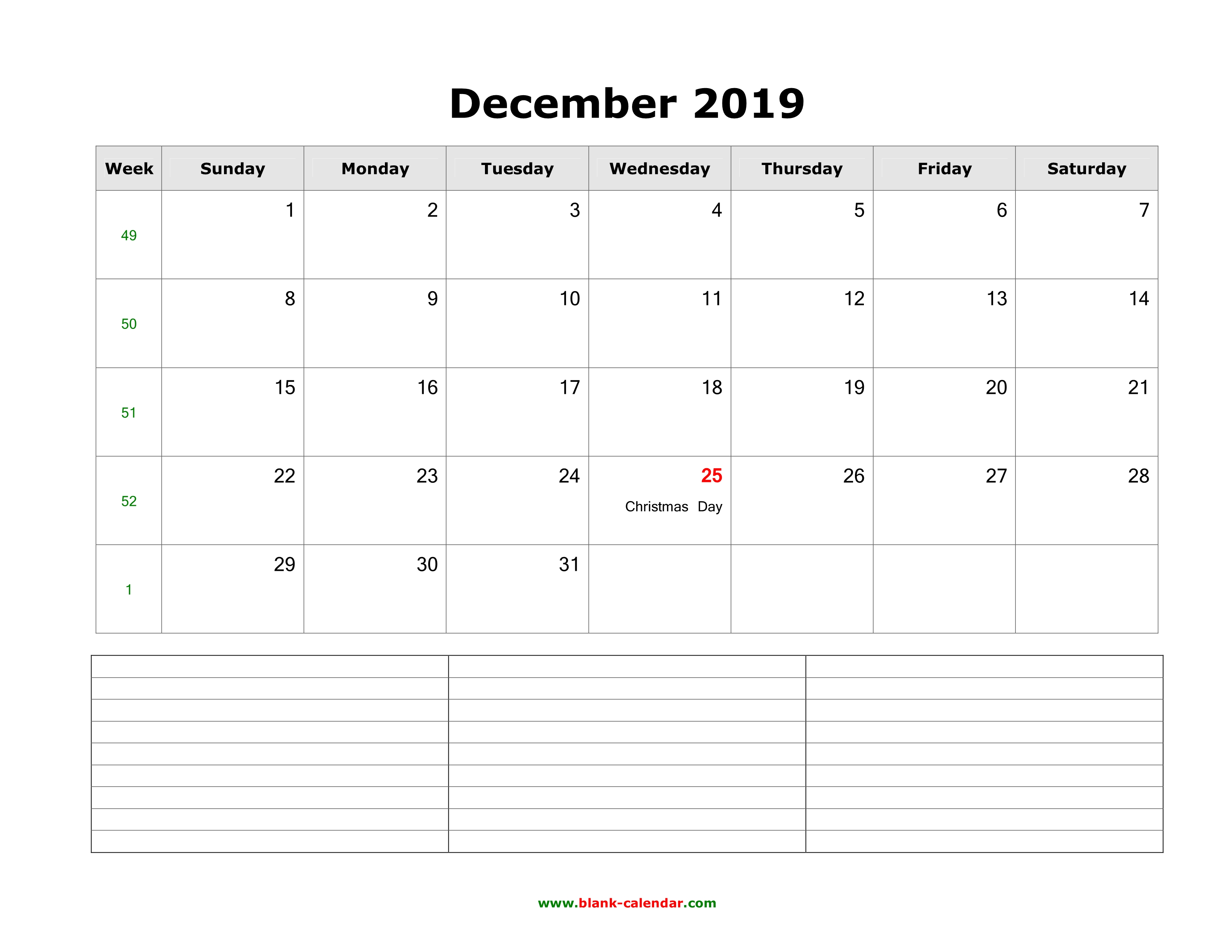 Download December 2019 Blank Calendar With Space For Notes Horizontal