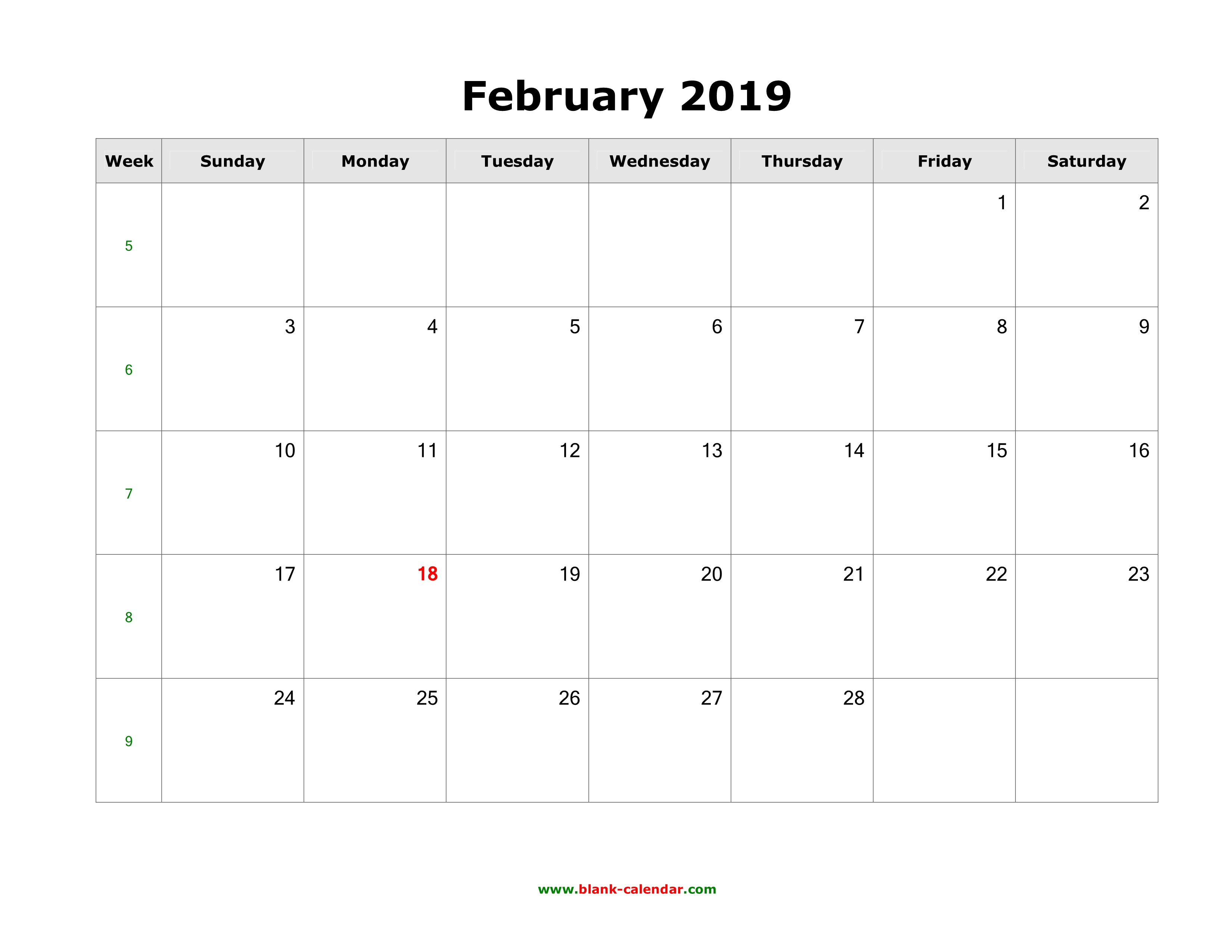 Download February 2019 Blank Calendar Horizontal