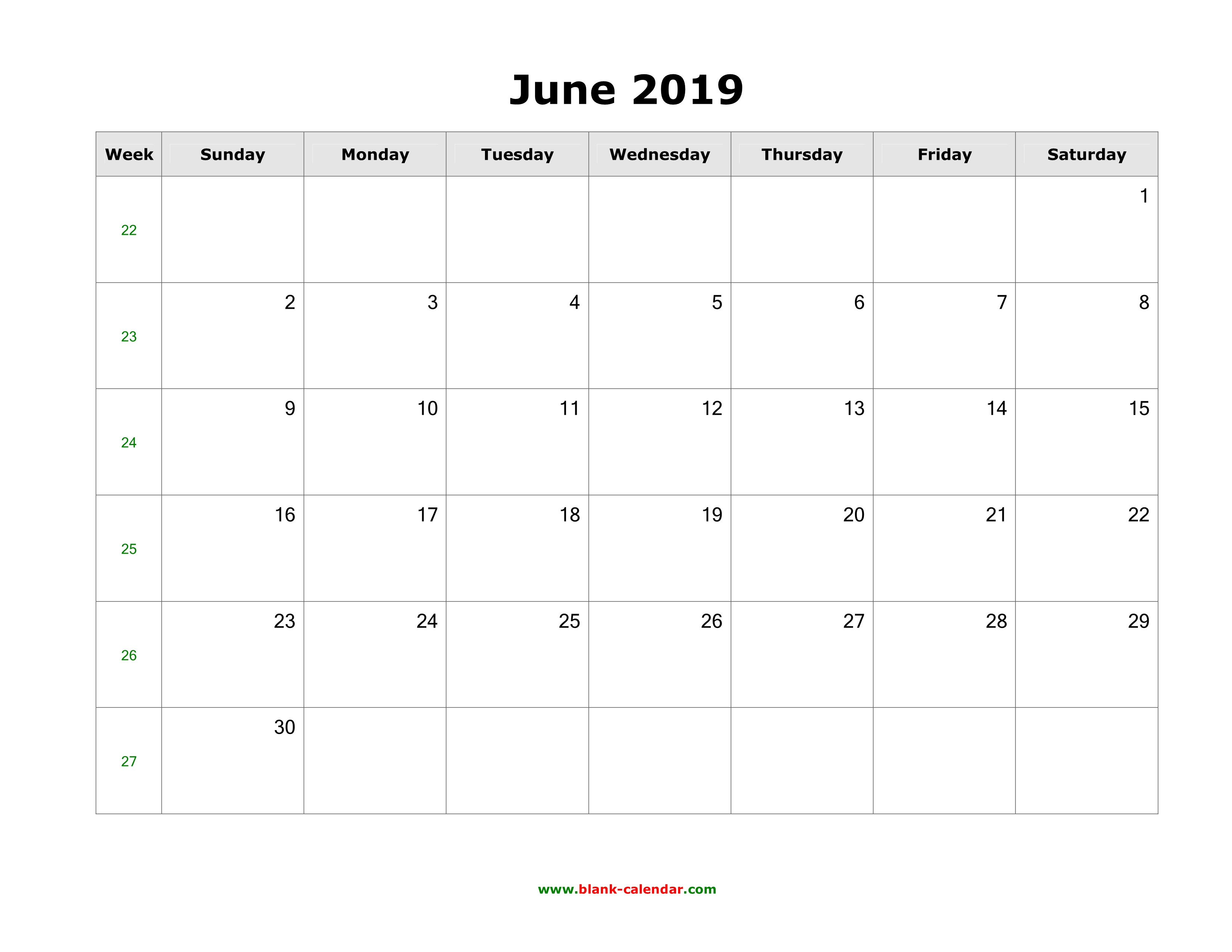 2019 June Calendar.June 2019 Blank Calendar Free Download Calendar Templates