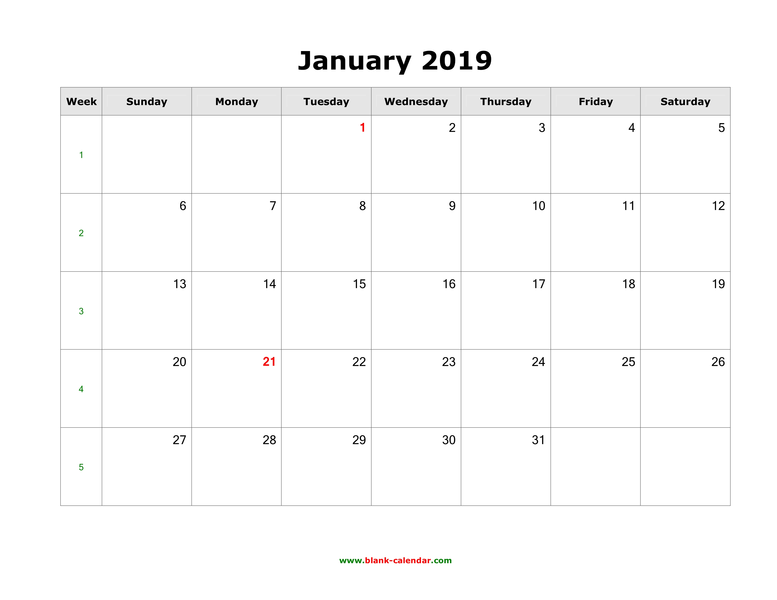 2019 Calendar Pages Download Blank Calendar 2019 (12 pages, one month per page