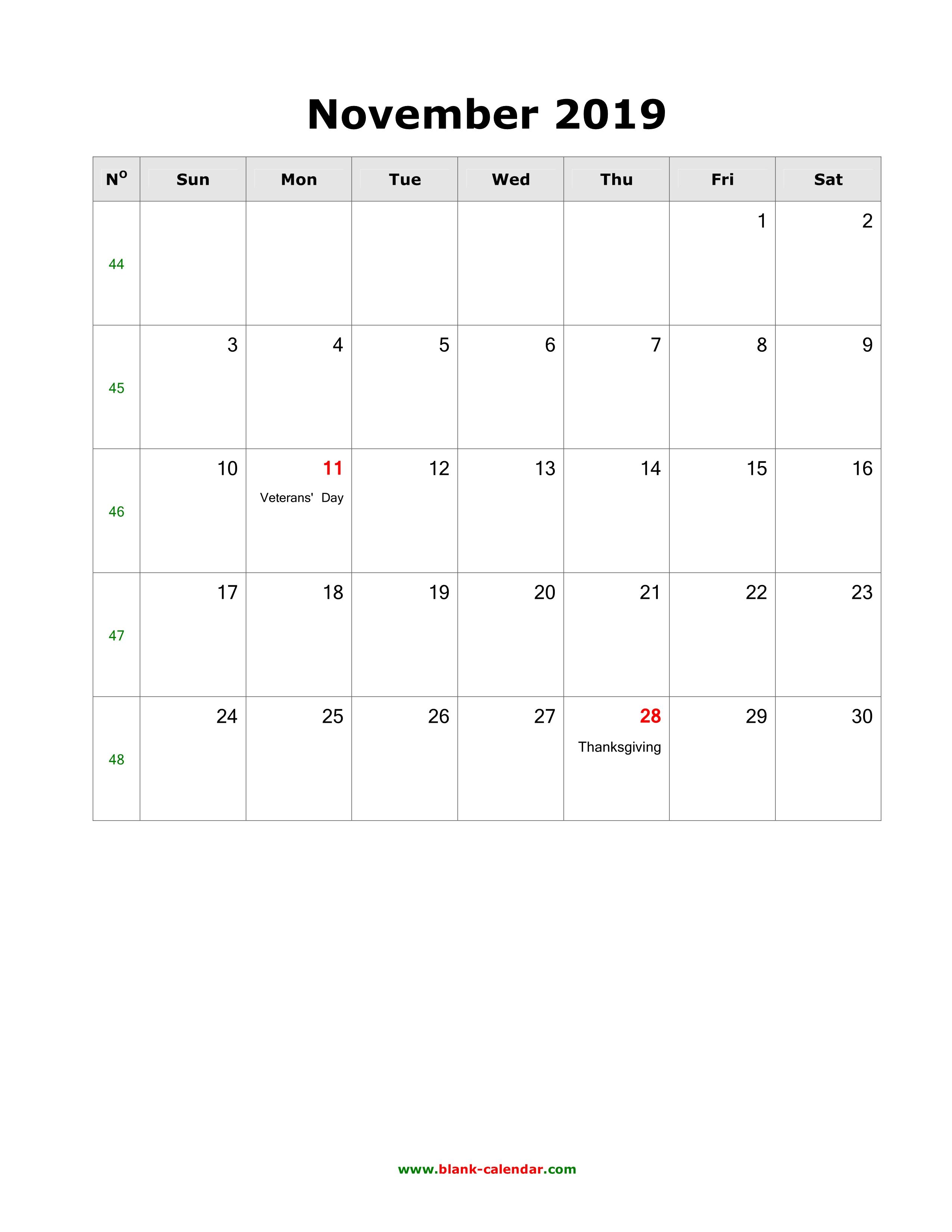 2019 Calendar With Holidays November And December Download November 2019 Blank Calendar with US Holidays (vertical)