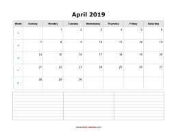 blank april calendar 2019 with notes landscape