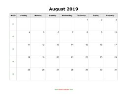 August 2019 Blank Calendar with US Holidays (horizontal)
