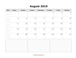 blank august calendar 2019 with notes landscape