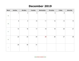 December 2019 Blank Calendar Free Download Calendar Templates