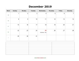 blank december calendar 2019 with notes landscape