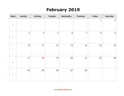 February 2019 Calendar Template Download February 2019 Blank Calendar | Free Download Calendar Templates