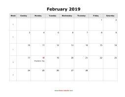 Horizontal Calendar Of February 2019 February 2019 Blank Calendar | Free Download Calendar Templates