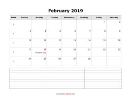 blank february calendar 2019 with notes landscape