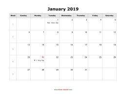January 2019 Calendar With Us Holidays January 2019 Blank Calendar | Free Download Calendar Templates