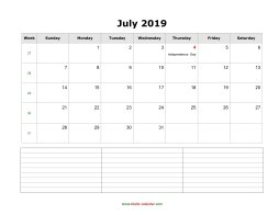 blank july calendar 2019 with notes landscape