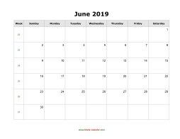 June 2019 Blank Calendar Free Download Calendar Templates