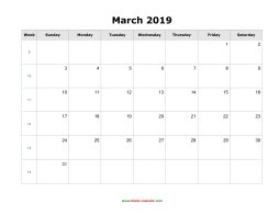 blank march holidays calendar 2019 landscape