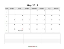 blank may calendar 2019 with notes landscape