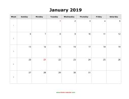 Monthly Calendar 2019 Word Blank Calendar 2019 | Free Download Calendar Templates