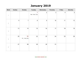 Blank Calendar 2019 (US Holidays, 12 pages, horizontal)