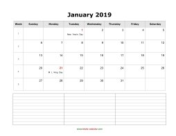 blank monthly calendar 2019 with notes landscape
