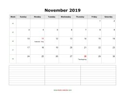 November 2019 Blank Calendar (horizontal, space for notes)