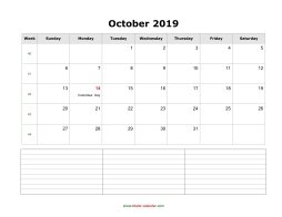 blank october calendar 2019 with notes landscape