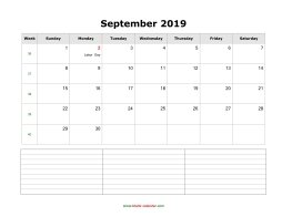 blank september calendar 2019 with notes landscape
