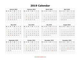 yearly 2019 calendar blank landscape