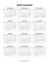 blank calendar 2019 yearly calendar blank portrait