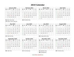 Blank Calendars To Print 2019 Blank Calendar 2019 | Free Download Calendar Templates