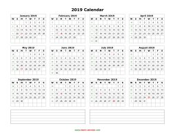 Blank Calendar 2019 (one page, horizontal, space for notes)
