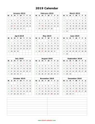 blank calendar 2019 yearly calendar notes blank portrait