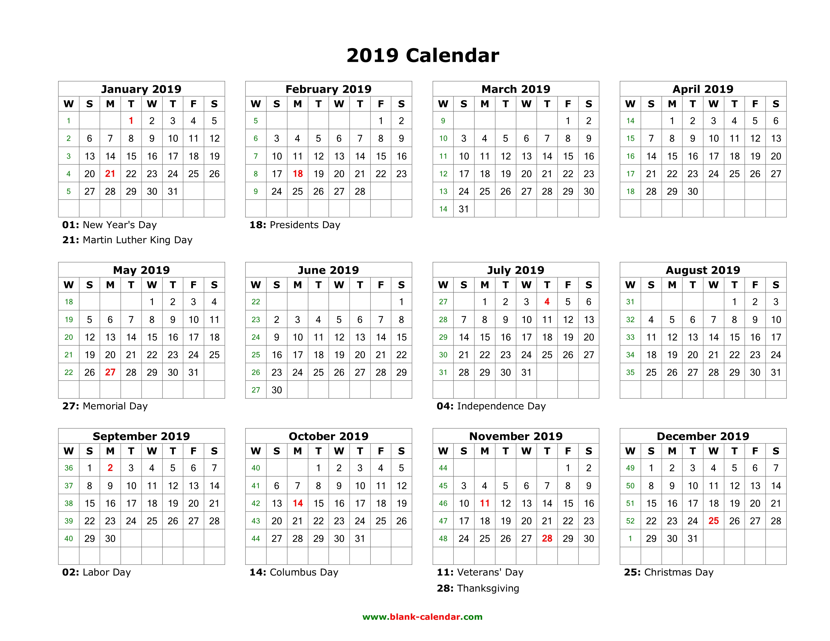 blank calendar 2019 us holidays one page horizontal