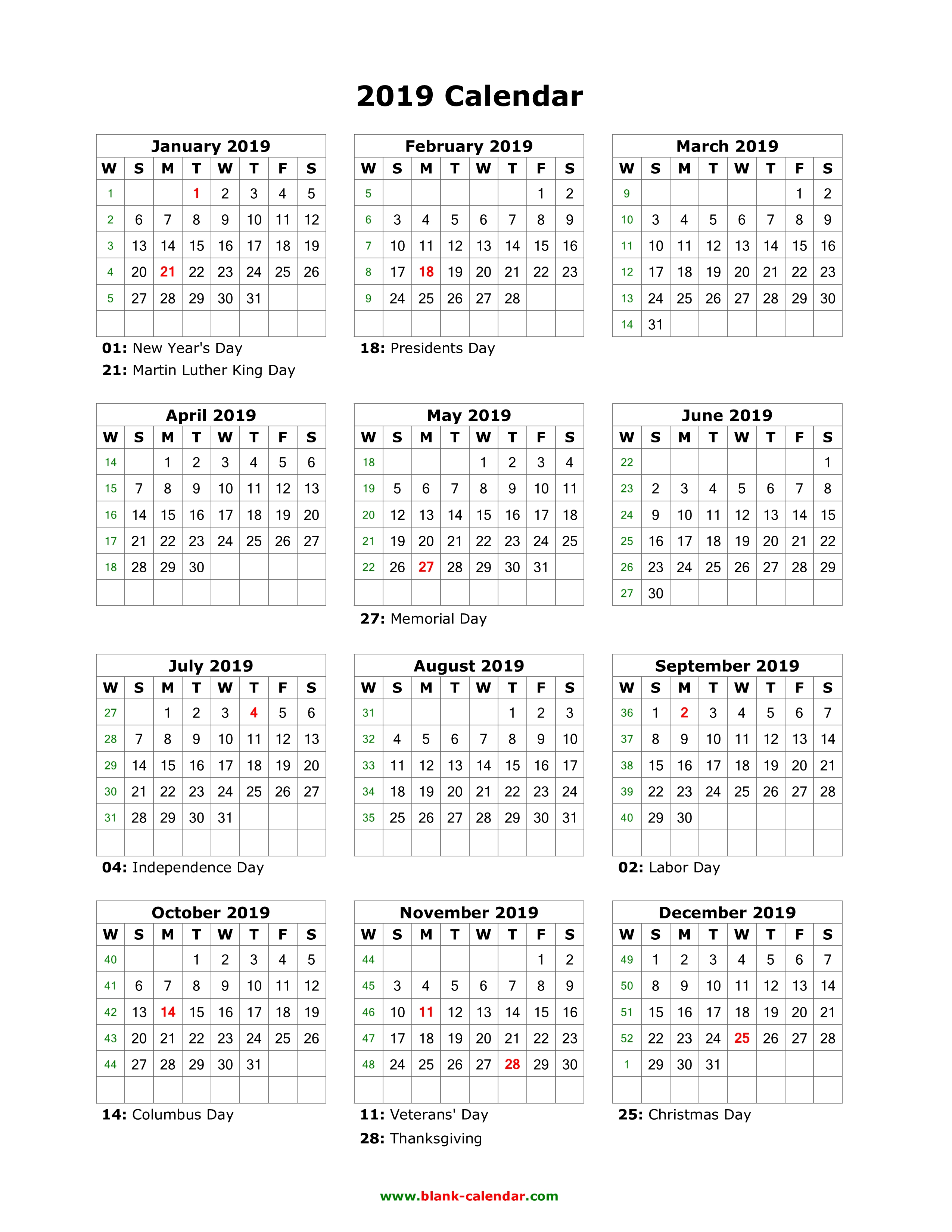 Download Blank Calendar 2019 With Us Holidays 12 Months On One Page