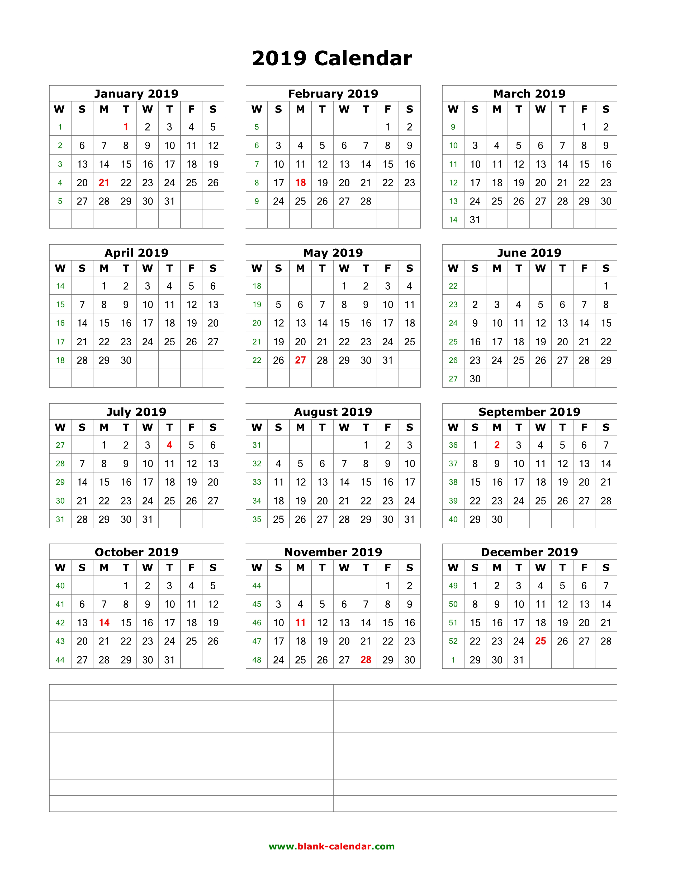 blank calendar 2019 one page vertical space for notes