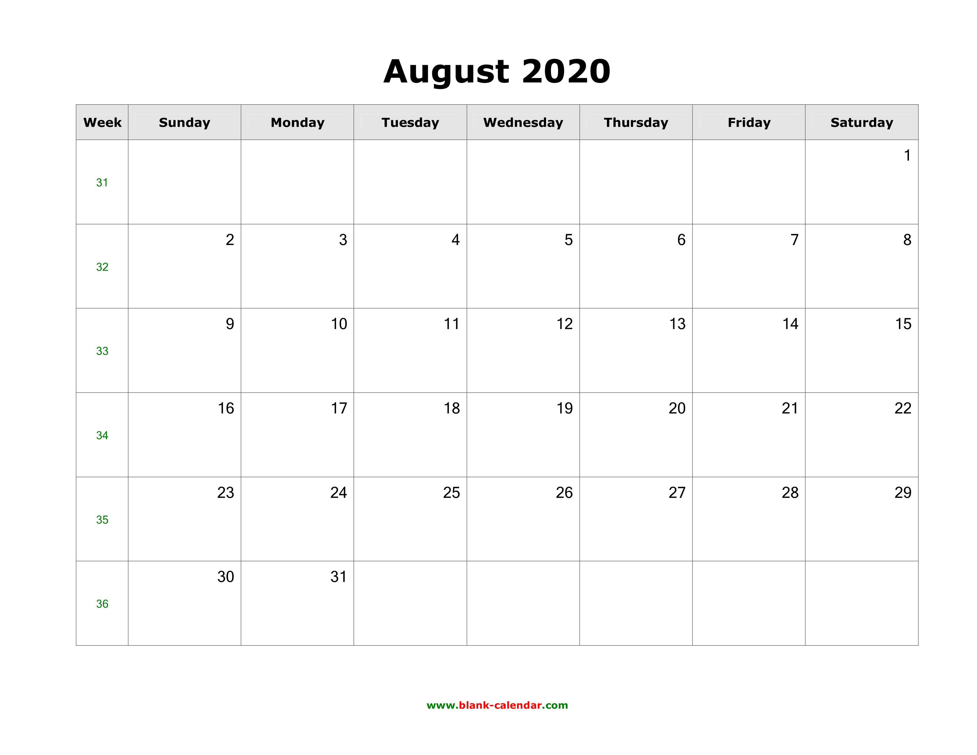 Blank Calendar August 2020.Download August 2020 Blank Calendar With Us Holidays Horizontal