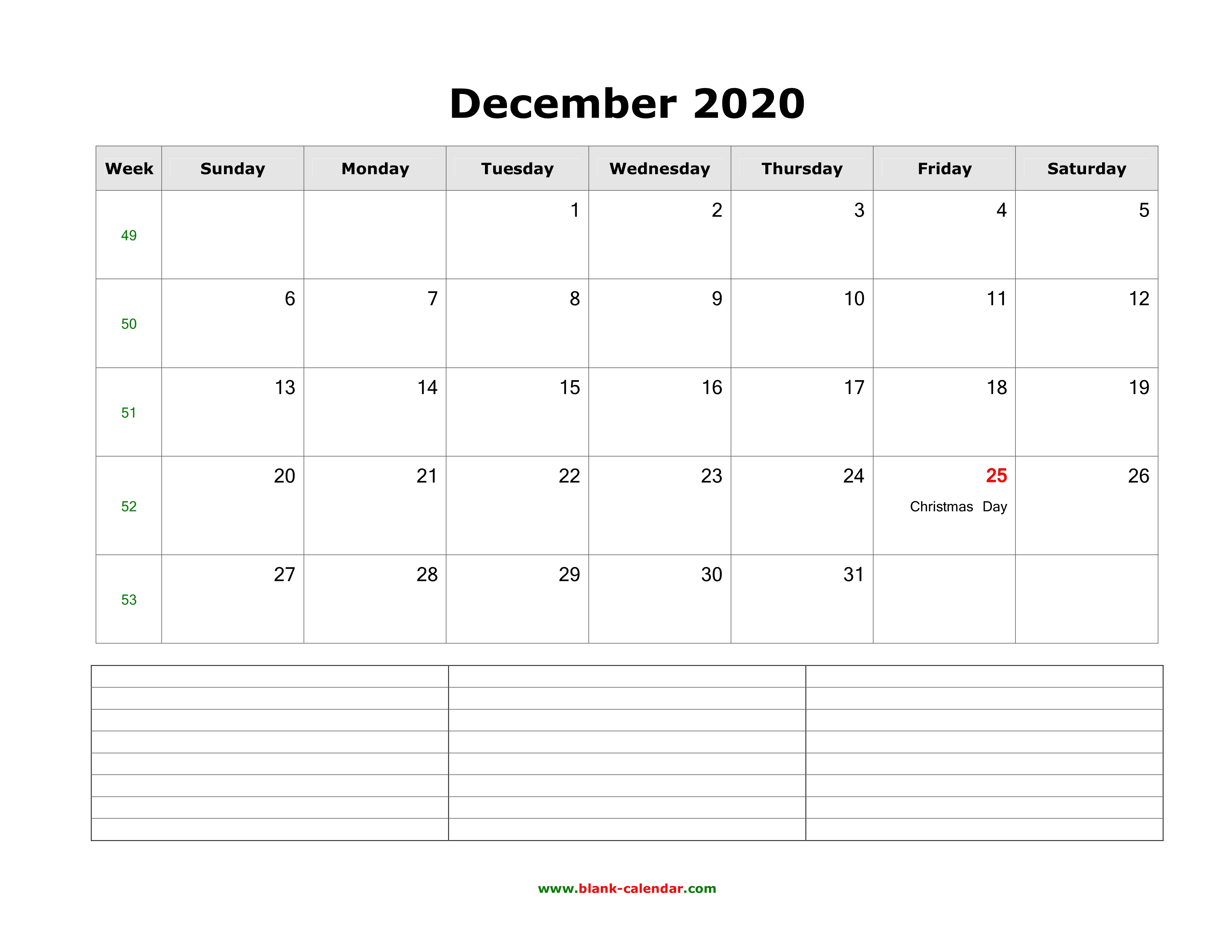Free Horizontal December 2020 Calendar Download December 2020 Blank Calendar with Space for Notes