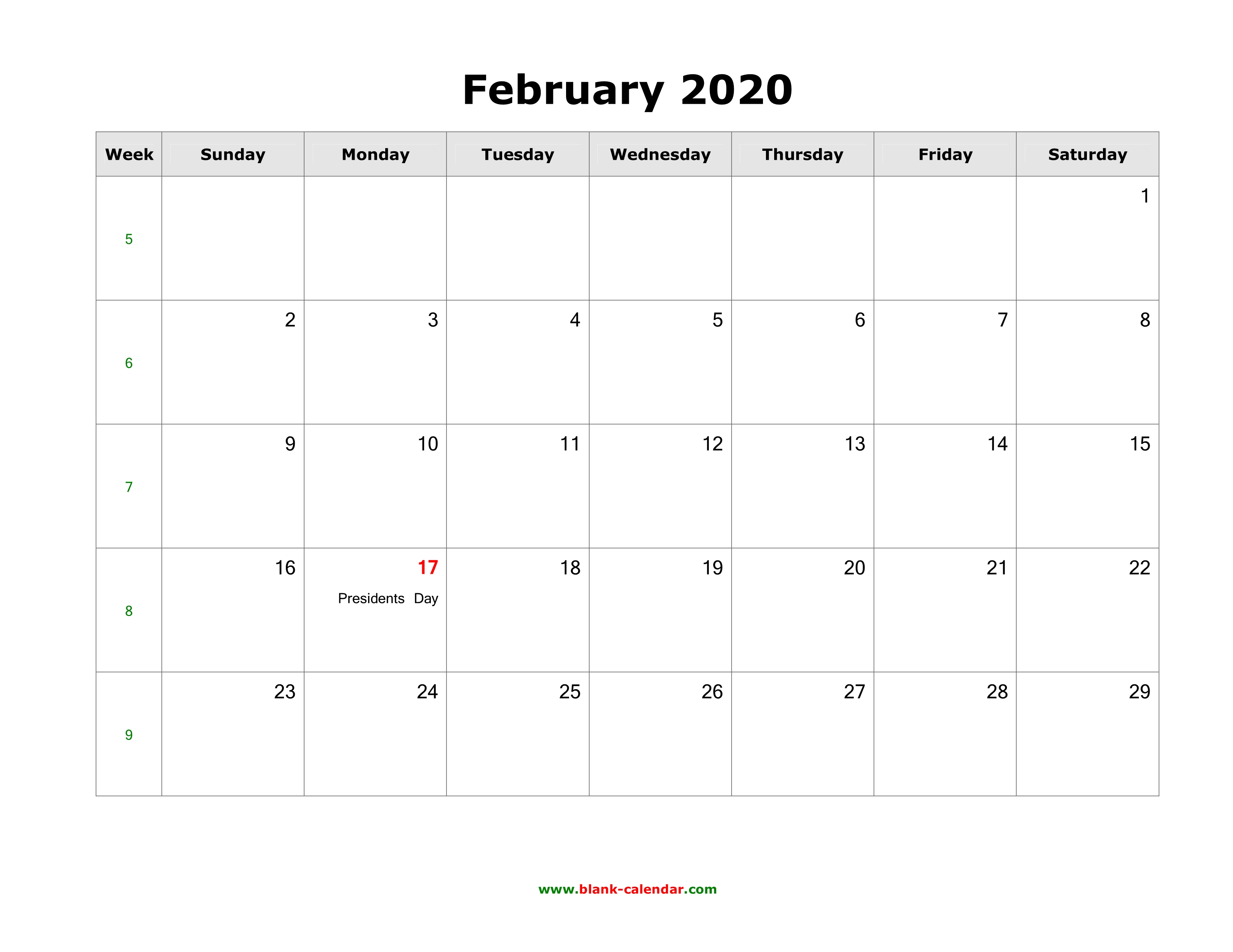 February 2020 Calendar Holiday In Usa Download February 2020 Blank Calendar with US Holidays (horizontal)