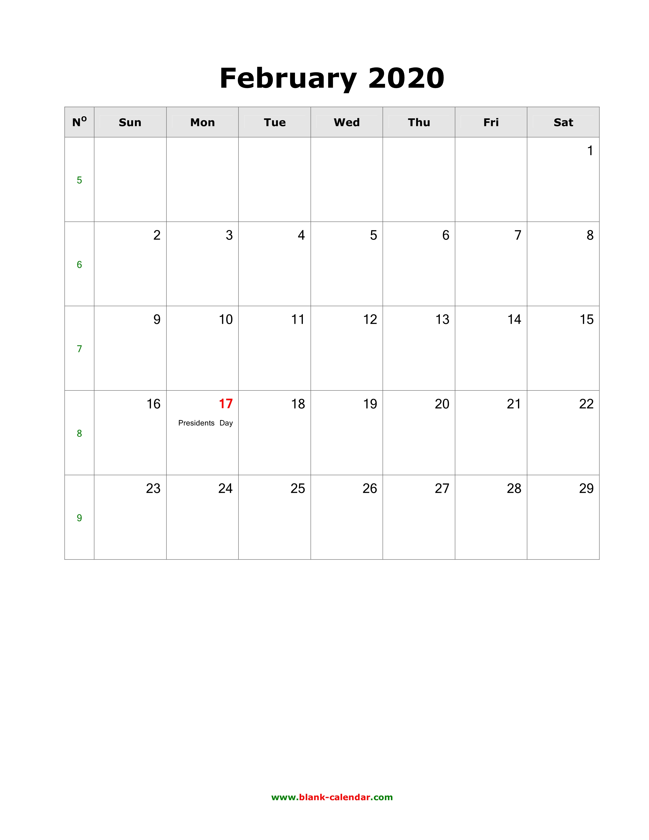February 2020 Calendar With Holidays Download February 2020 Blank Calendar with US Holidays (vertical)