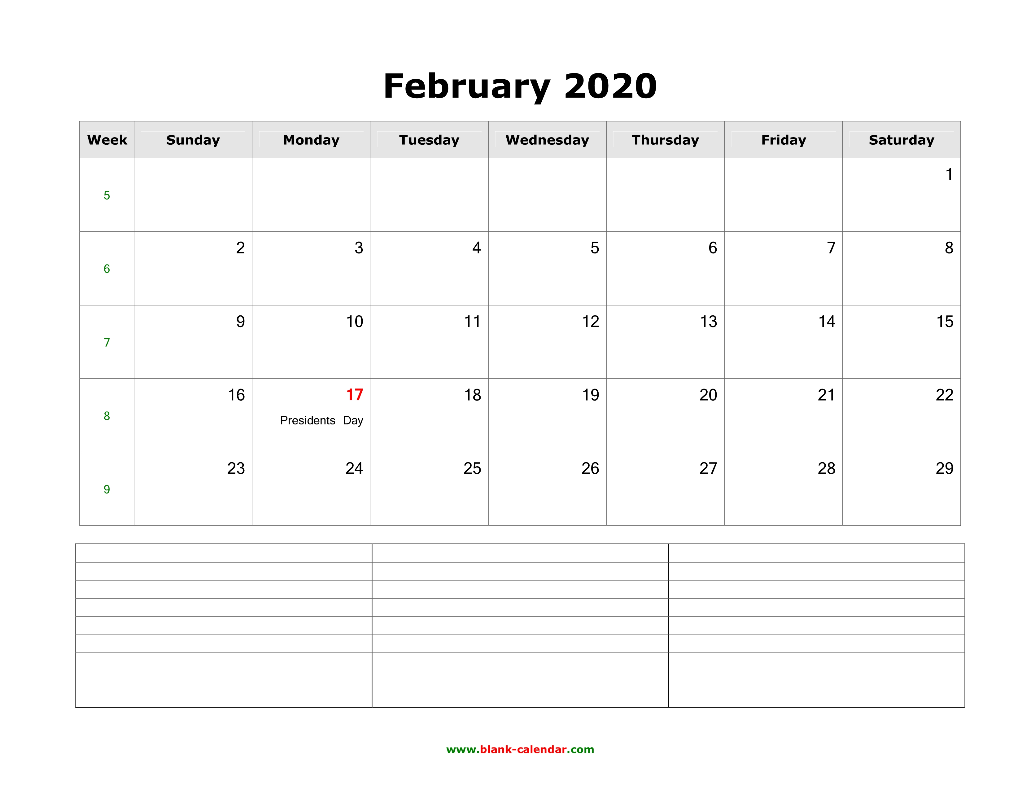 February 2020 Landscape Calendar Download February 2020 Blank Calendar with Space for Notes