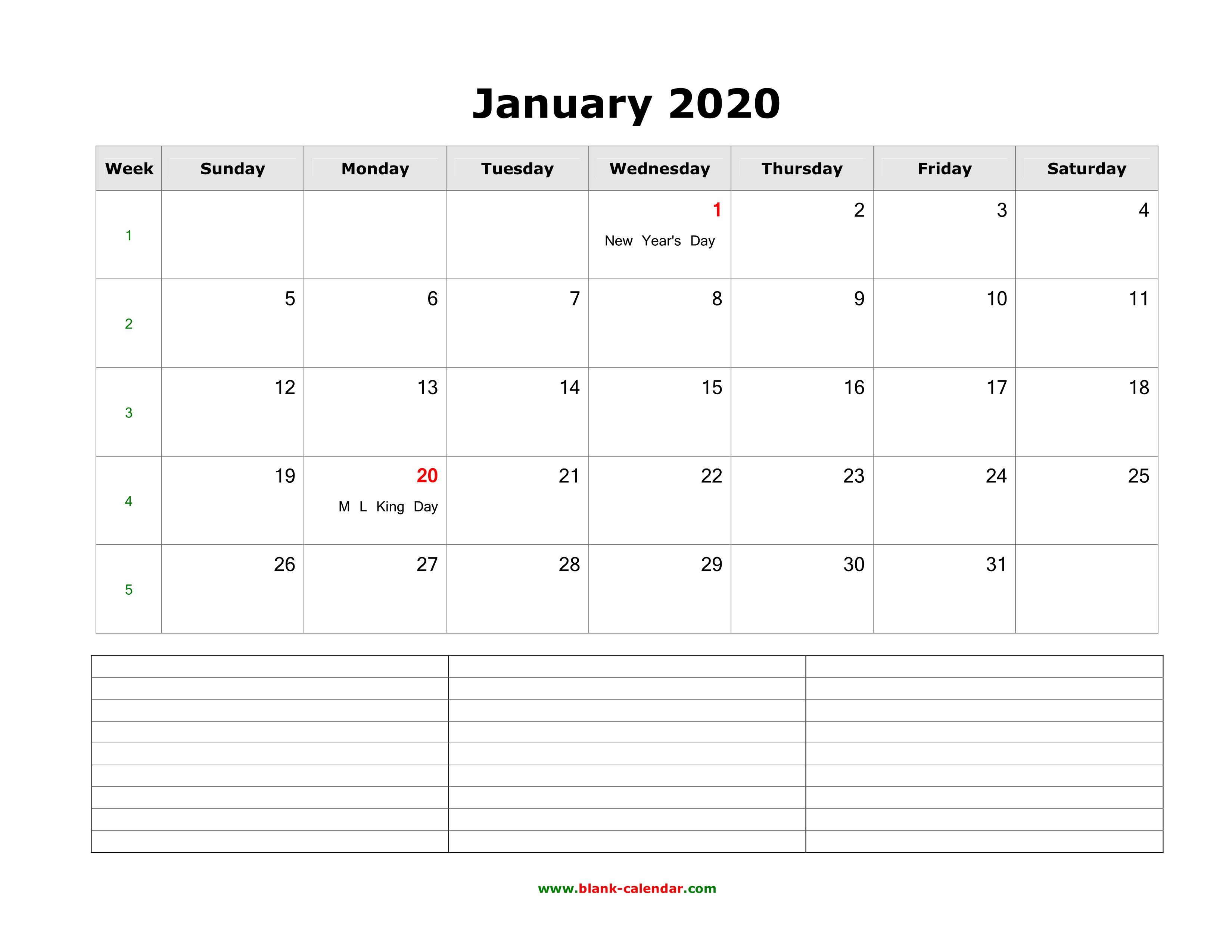 calender for january 2020
