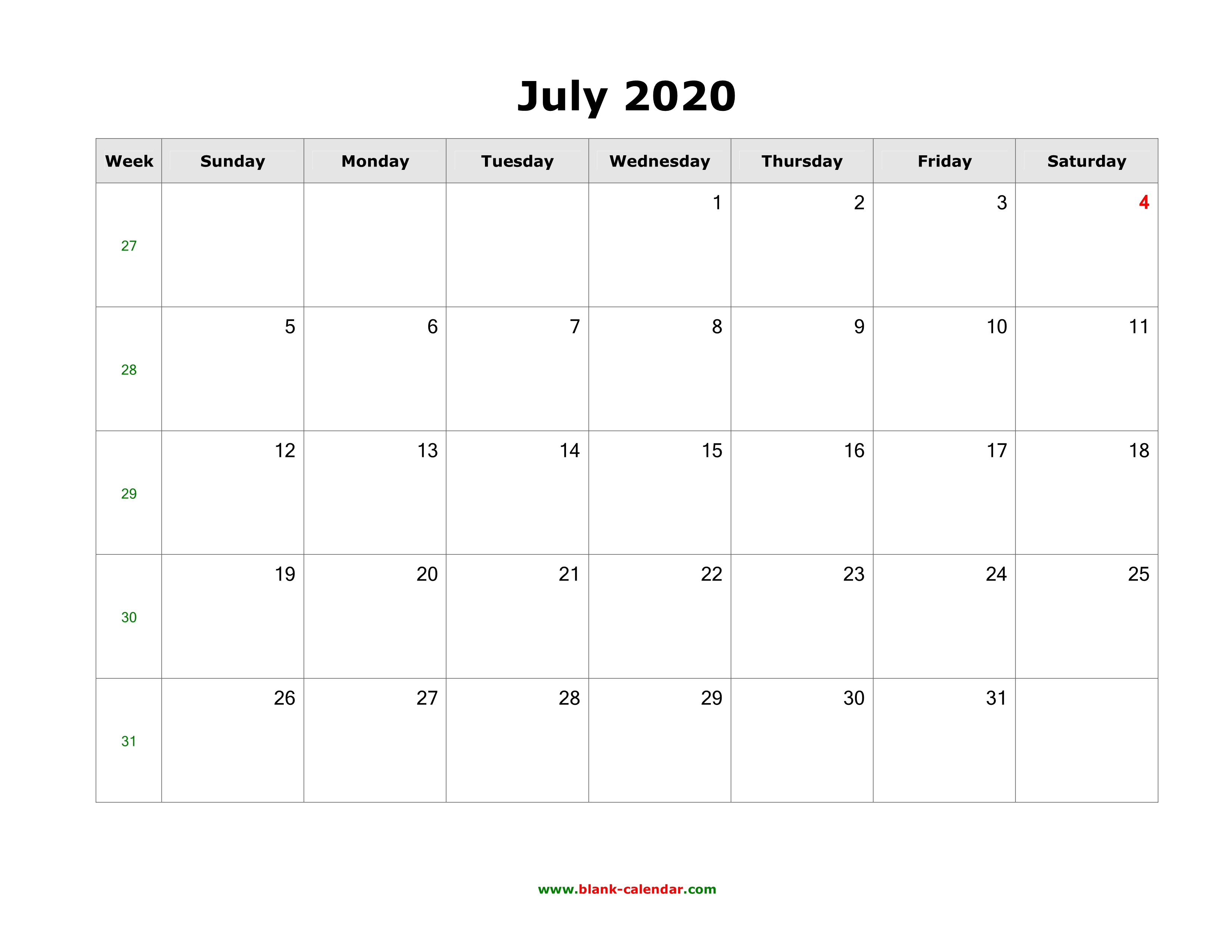 Printable Calendar July 2020.Download July 2020 Blank Calendar Horizontal