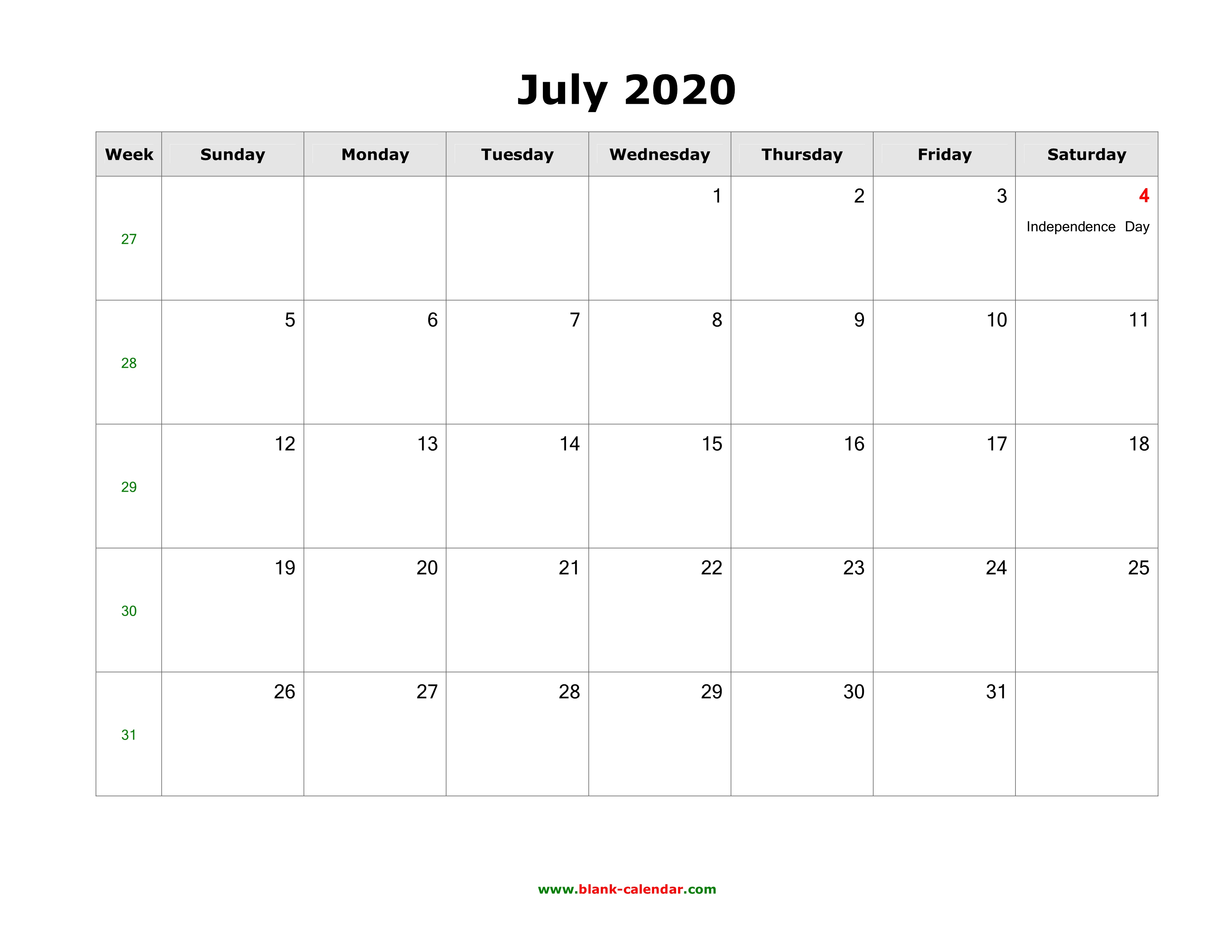 July Calendar For 2020.Download July 2020 Blank Calendar With Us Holidays Horizontal
