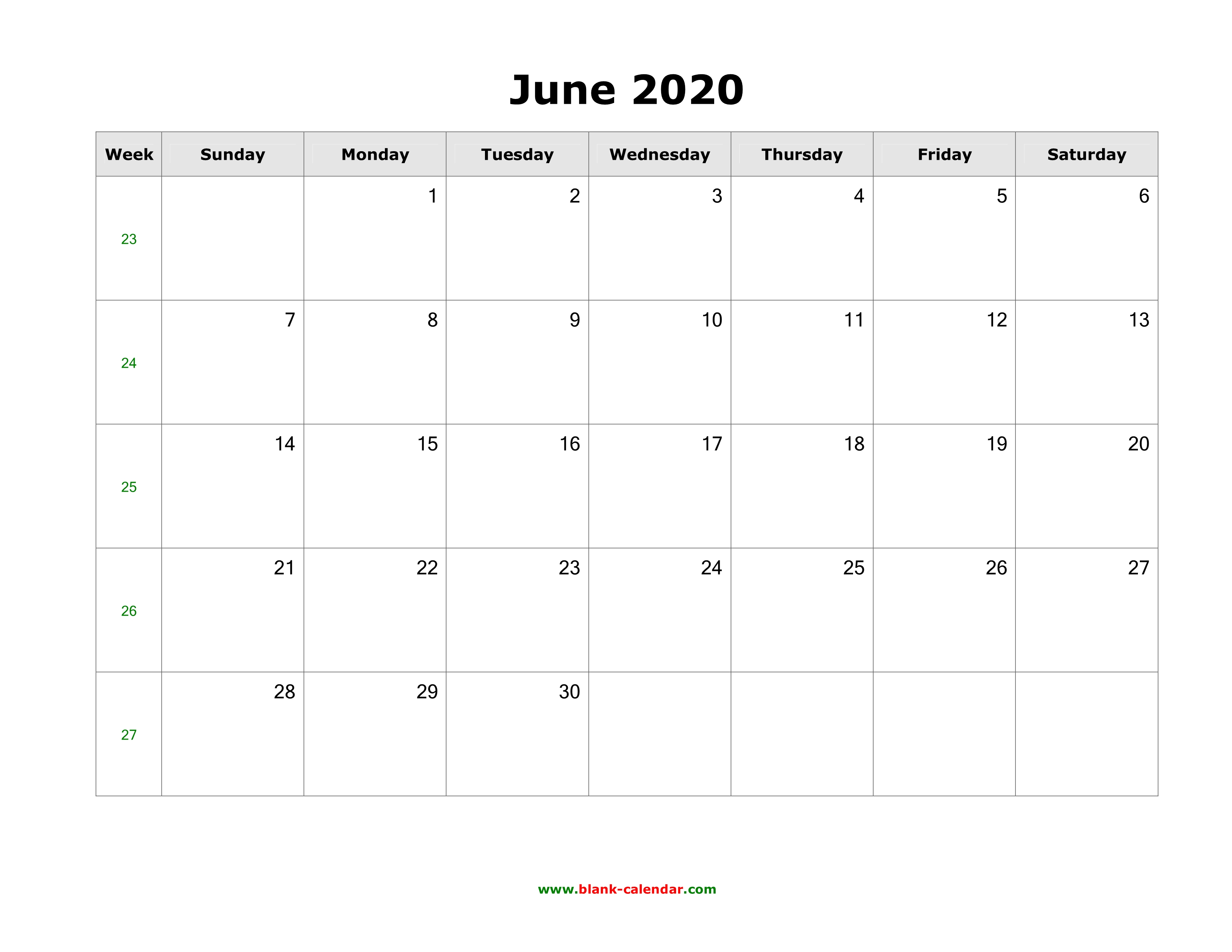 Calendar Of July 2020.Download June 2020 Blank Calendar With Us Holidays Horizontal
