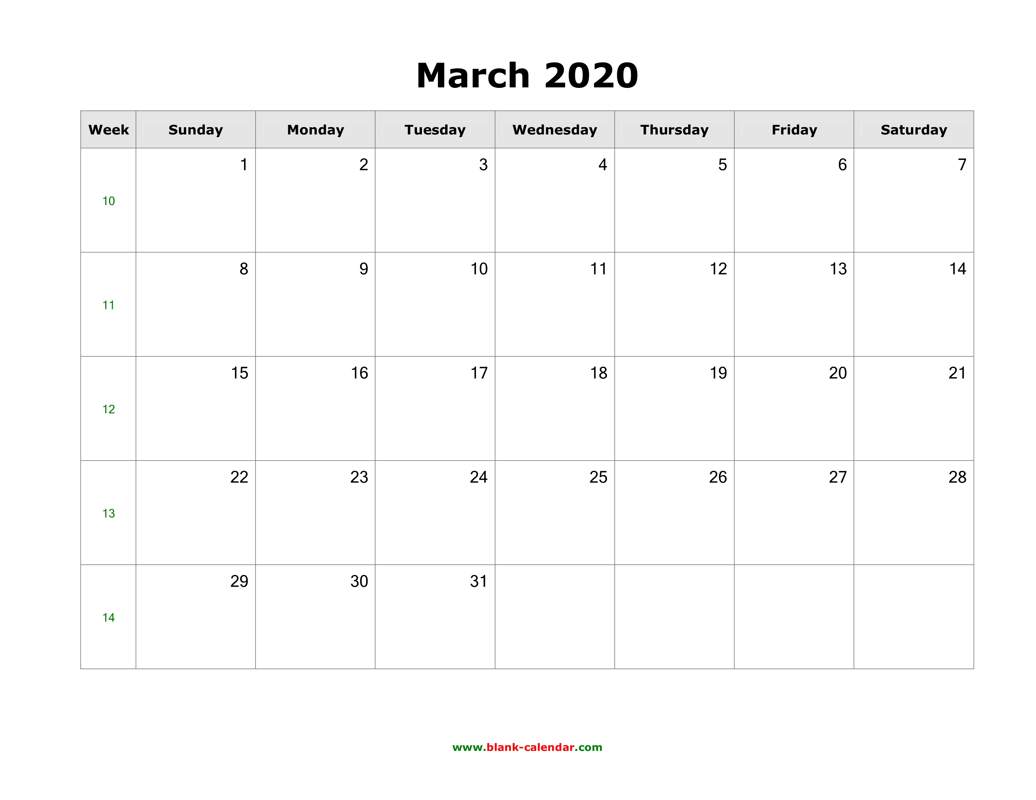 March 2020 Calendar With Holidays Download March 2020 Blank Calendar with US Holidays (horizontal)