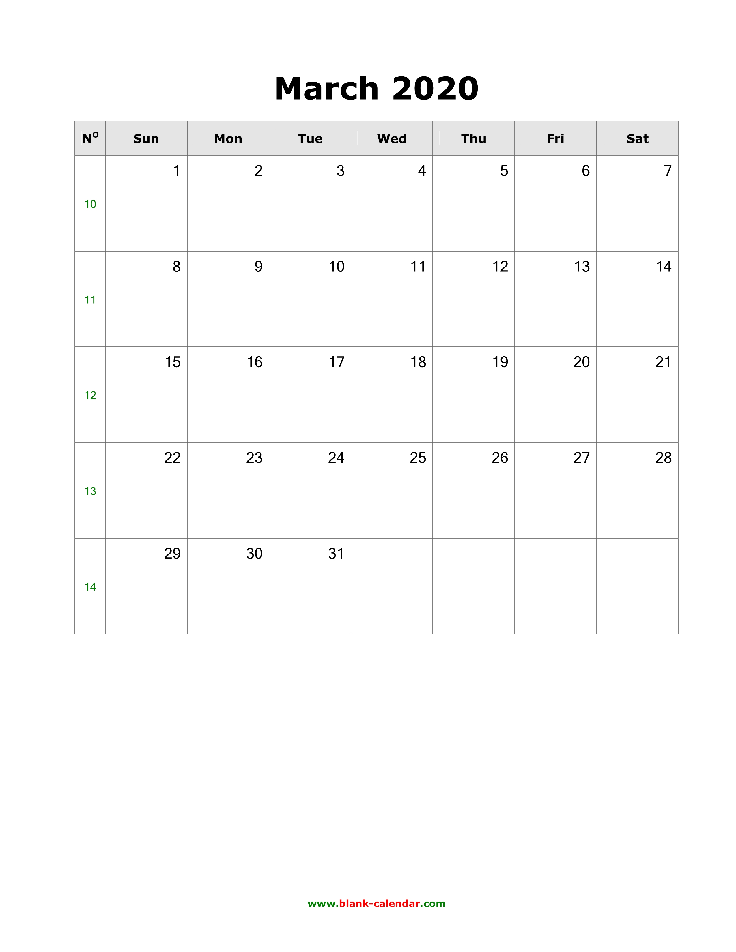 Download March 2020 Blank Calendar with US Holidays (vertical)