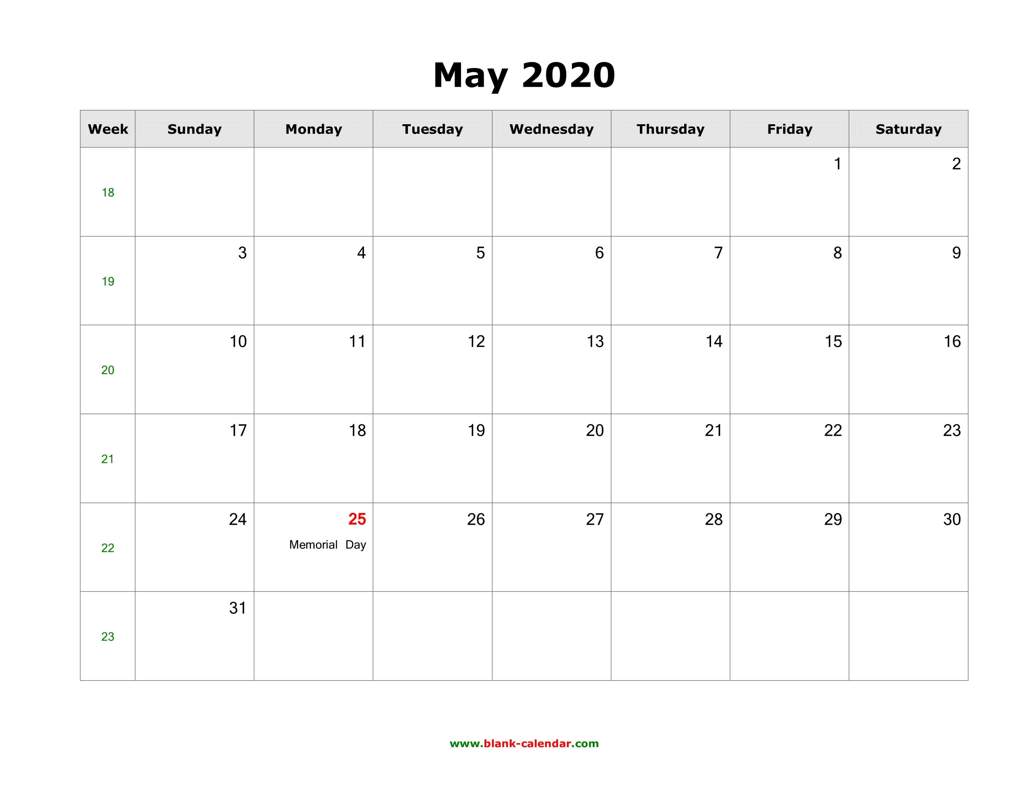 May 40 Blank Calendar   Free Download Calendar Templates