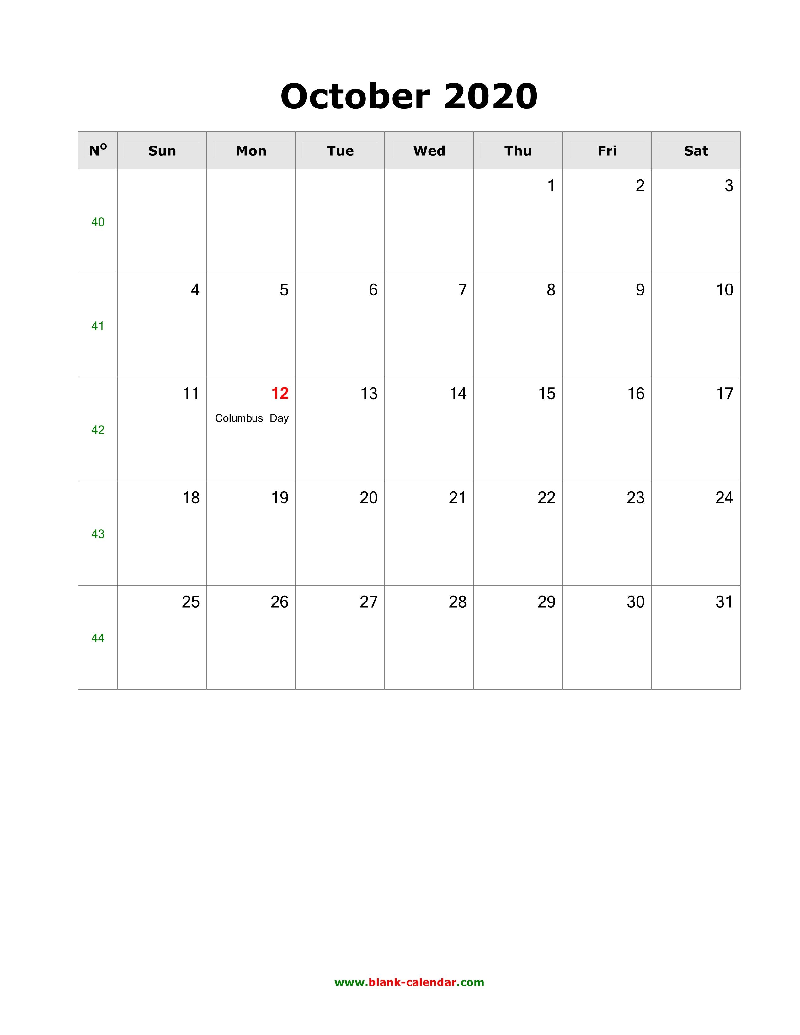 October 2020 Printable Calendar.Download October 2020 Blank Calendar With Us Holidays Vertical