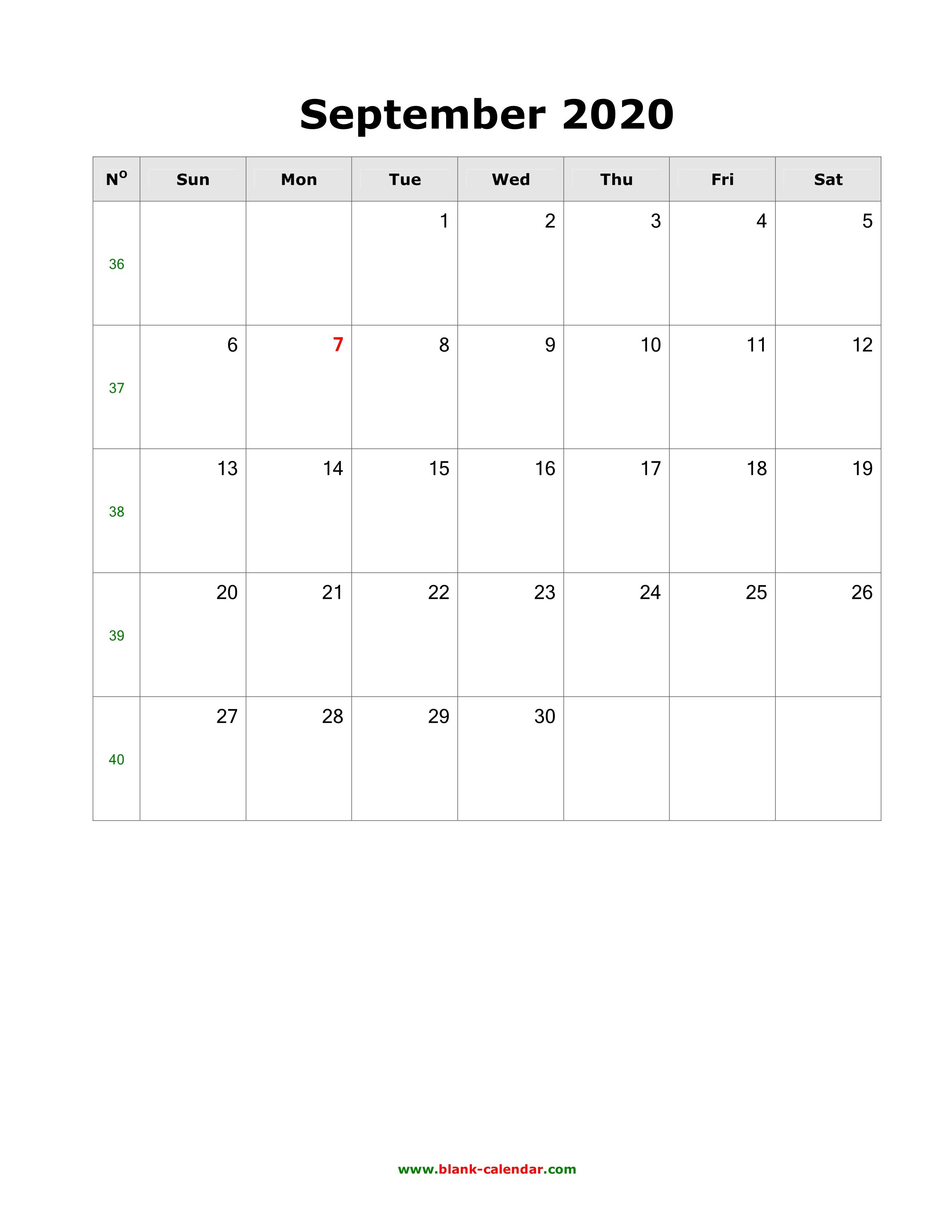 Download September 2020 Blank Calendar Vertical