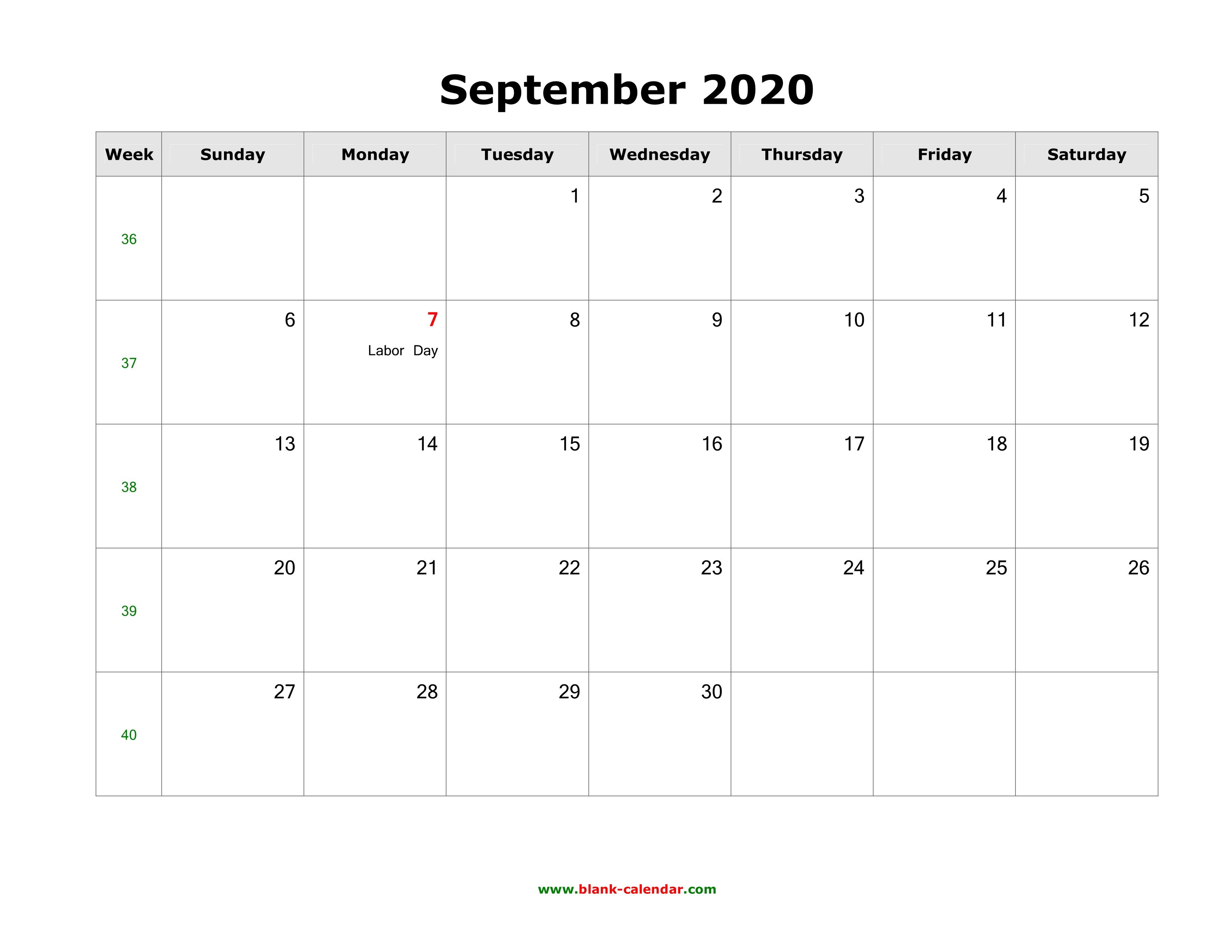 Download September 2020 Blank Calendar ...