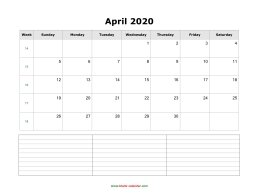 blank april calendar 2020 with notes landscape