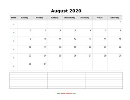 blank august calendar 2020 with notes landscape